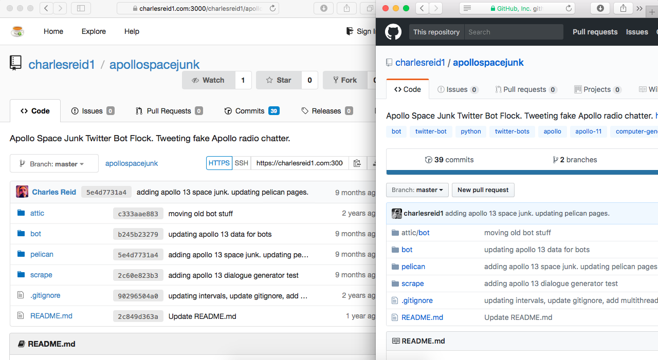 Gitea and Github - same repo, side by side.